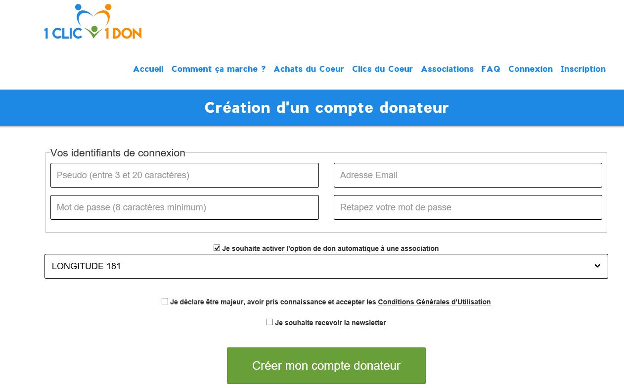 9108a30076807e Inscrivez-vous et choisissez LONGITUDE 181 comme association destinataire    https   www.1clic1don.fr inscription.php