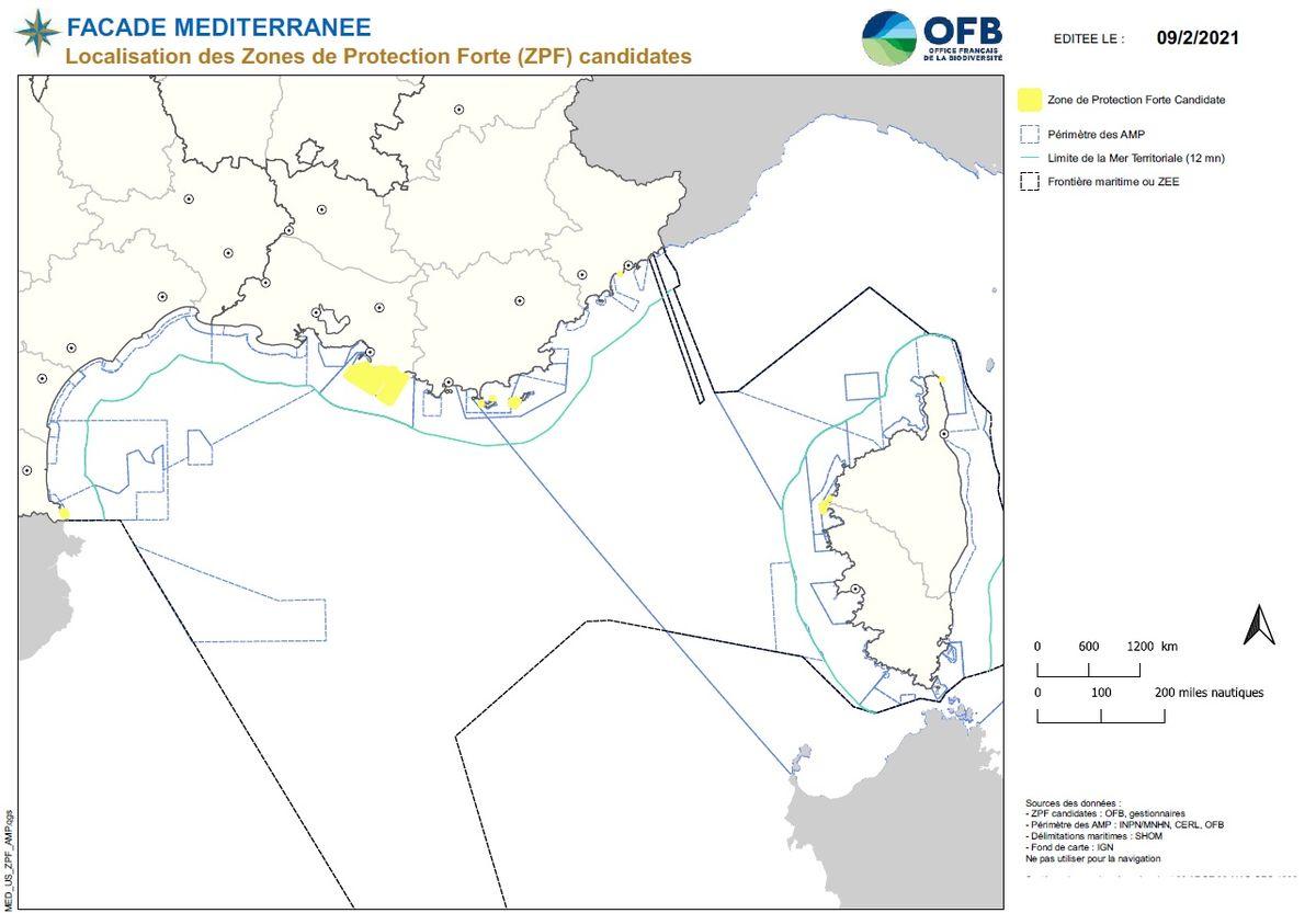 Localisation des Zones de Protection Forte ZPF en Méditerranée éditée 2021